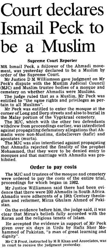 Report of Judgment in Cape Times